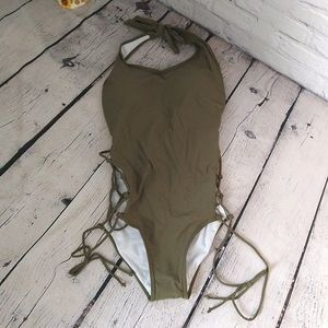 Army Green Lace-Up Halter Tie 1-Piece Swimsuit